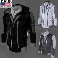 Mens Bomber Jacket Casual Zip Up Winter Warm Sweatshirt Hoodie Coat Outwear Tops