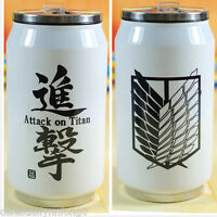 Anime Attack On Titan Stainless Steel Straw Bottle Vacuum Thermal Coffee Tea Cup
