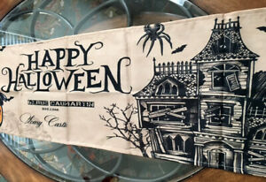 "Halloween Decor Table Runner Haunted House Pumpkin Black Crow Spill proof 70"""