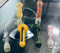 """4 piece Chillum One Hitter & 2 Piece Cute mini 2.5"""" bowl color pipe mini glass"""