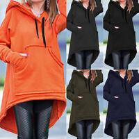ZANZEA Women Long Sleeve Hoodies Hooded Sweats Sweatshirt Asymmetrical Jumper