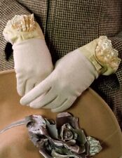 Victorian Trading Co Ivory Cashmere Gloves with Leather & Lace Trim L/XL NIB