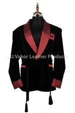 Men Black Smoking Jackets Elegant Luxury Belted Designer Party Wear Blazer Coats