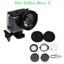 AU New 58mm HD Macro Lens+16 Filter+Lens Cap+Adapter Set For GoPro Hero 5 Camera