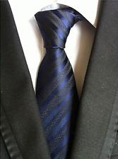 Men's 100% Silk Handmade Classic Jacquard Necktie (Midnight Blue)