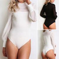 Mode Femme Combinaison Bodys patchwork en dentelle Manche bouffante Col roulé