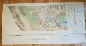 Vtg 1968 Geologic Map From 112 W Longitude to The Coast of California