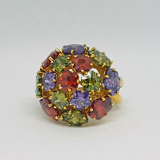 Joan Rivers QVC Glam Finale Multicolor Crystal CZ Cocktail Cluster Ring $421 10