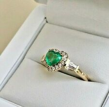 Ring; Green Heart Emerald Stone 18K Yellow Gold ovr Sterling Silver Sz 7.75 NEW