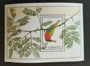 Gambia, 1988 MNH complete minisheet of Red Throated Bee-eater