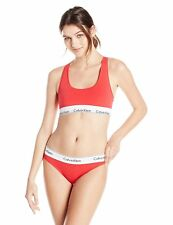 Calvin Klein Women's Modern Cotton Bralette and Bikini Set,Red,Large