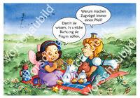 Set 5 Postkarten Druck Prinzessin Kinderbuch Comic Stil Tiere süß Studio Sterna