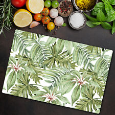 Glass Chopping Cutting Board Light Banana Leaves Tropical Bright Artwork 80x52
