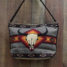 Purse, Heavy Cotton With Colorful Aztec Design With Skull Cotton Straps Gray