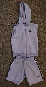 Boys Adidas age 4-5 years 2 Piece Set Shorts And Sleeveless Jacket Dusky Blue