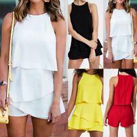 Women's Ladies Summer Holiday Bikini Mini Playsuit Romper Beach Jumpsuit Dresses