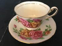 BONE CHINA CUP & SAUCER BY ROYAL CHELSEA PINK YELLOW CABBAGE ROSES