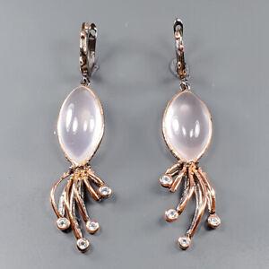 Jewelry Art Design Rose Quartz Earrings Silver 925 Sterling   /E51694