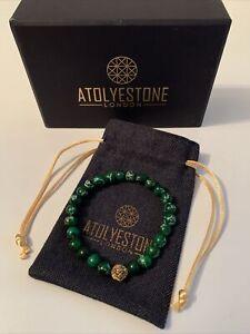 Atolyestone London Leo Collection Yellow Gold Beaded Bracelet Green Jasper *NEW*