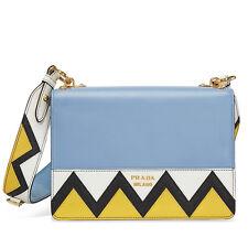 Prada Saffiano Leather Medium Crossbody - Blue White and Yellow