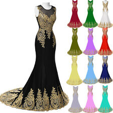 Luxury Applique Mermaid Dress Wedding Evening Bridesmaid Formal Prom Party Gown