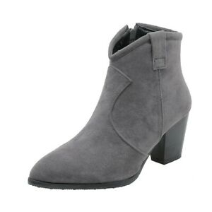 Womens Chelsea Booties Pointed Toe Zip Ankle Boots Block Mid Heel Shoes Big Size