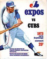 1973 (Aug. 6) Baseball program Chicago Cubs @ Montreal Expos, Jarry Park, scored