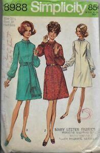 Vintage 1970 Simplicity Sewing Pattern 8988 HALF SIZE DRESS & SASH 16-1/2