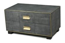 "34"" Daniela Shagreen Low Chest Wood Leather Antique Gray Finish Gold Trim Brass"
