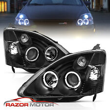02-03 Honda Civic Si EP3 Dual Angel Eye Halo Projector Black Headlights Lamps