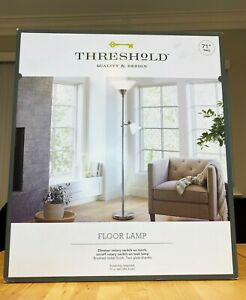 Threshold Floor Lamp 71 Inch brushed nickel finish, brand new and in the box.