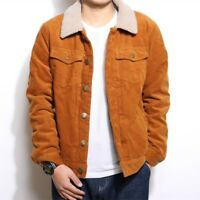 Men Corduroy Sherpa Fleece Lined Jacket Coat Japanese Outwear Leisure Winter War
