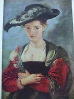ANTIQUE PRINT C1930S LE CHAPEAU DE PAILLE BY SIR PETER PAUL RUBENS VINTAGE ART