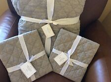 POTTERY BARN Belgian Linen Diamond Full/Queen Quilt & 2 EURO Shams NEW-Flagstone
