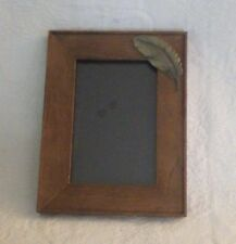"""Prinz Picture Frame Wood W/Leaf Silver Accent Holds 4"""" x 6"""" Photo New"""