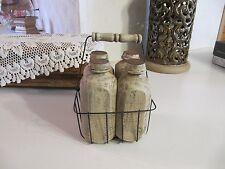 Milk Bottles Wood Look/ Resin? w/ Metal Basket Country/Primitive Kitchen Decor