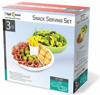 Uno Casa 3-Piece Snack Serving Set Party Bowl Dish Platter Appetizer Stoneware