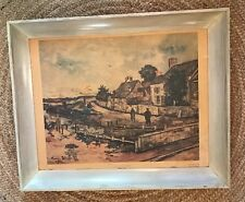 Vintage MAURICE UTRILLO, V 1922 Lithograph of Oil Painting Framed Signed