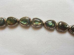 Armband  Jugendstil  925er Silber mit grünen Steinen  Kastenschloß 18,5 cm