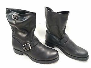 Frye Black Leather Single Belt Short Boot Women's Size 9.5B
