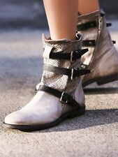 A.S. 98 Topanga Grey Leather Buckle Ankle Booties Triple Strap Boots Size 38 New
