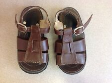 Kids Toddler Brown Leather Sandals With Buckles From Paraguay