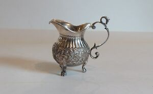 Dutch .835 Silver Embossed Cream Pot, c. late 1800's, 105 Grams