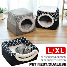 Pet Cat Dog Nest Bed Puppy Soft Basket Kennel Mat Winter Warm Cave House NEW