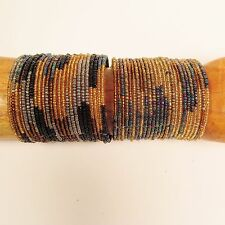 Set of 2 Gold Multi Wide Color Block Beaded Cuff Handmade Bracelet Glass Beads