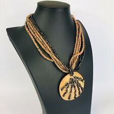 Brown Wooden Beaded Chunky Coconut Pendant Necklace Costume Jewellery Boho Hippy