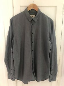 Folk Clothing Men's Charcoal Grey Pattern Shirt Size 5 Excellent Condition
