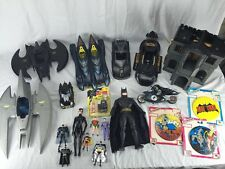 DC Comic action figure lot Kenner Batman Wayne Manor BATWING Bat Mobile 1990's