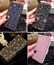 Luxury Bling Diamond Rhinestone Leather Wallet Cards Flip Stand Cover Case