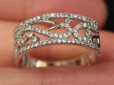 New Sz6,8 10K 3/8ct Natural Diamond filigree Wedding Anniversary Ring White Gold